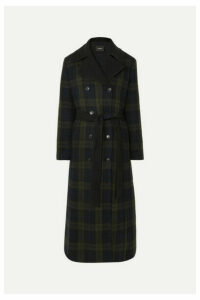 Akris - Elea Convertible Checked Wool And Quilted Silk Down Coat - Green