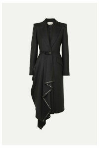 Alexander McQueen - Asymmetric Frayed Wool-flannel Coat - Gray