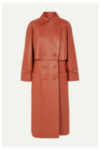 Fendi - Double-breasted Leather Trench Coat - Orange