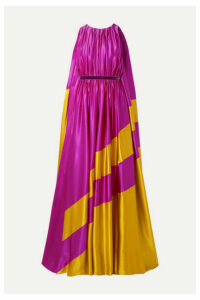 Roksanda - Maluka Velvet-trimmed Draped Two-tone Silk-satin Gown - Magenta