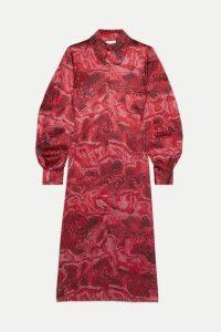 GANNI - Printed Stretch-silk Satin Midi Dress - Red