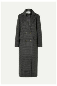 GANNI - Double-breasted Checked Wool-blend Coat - Gray