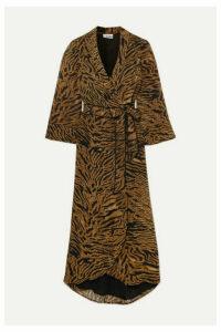 GANNI - Tiger-print Georgette Wrap Dress - Brown