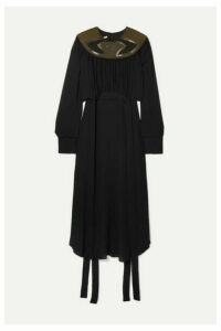 Stella McCartney - + Net Sustain Vegetarian Leather And Faux Suede-trimmed Crepe Dress - Black