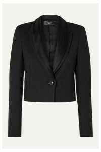 AMIRI - Cropped Satin-trimmed Twill Blazer - Black