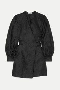GANNI - Jacquard Mini Wrap Dress - Black