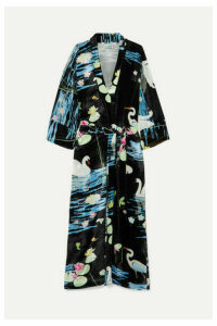 BERNADETTE - Peignoir Printed Velvet Wrap Dress - Black