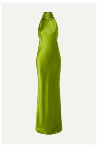 Brandon Maxwell - Open-back Silk-charmeuse Halterneck Gown - Lime green