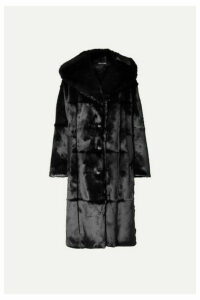 TOM FORD - Oversized Hooded Leather-trimmed Faux Fur Coat - Black