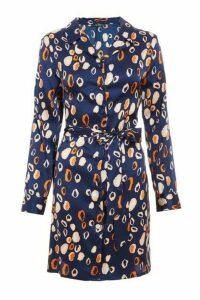 Quiz Navy and Rust Satin Leopard Print Shirt Dress