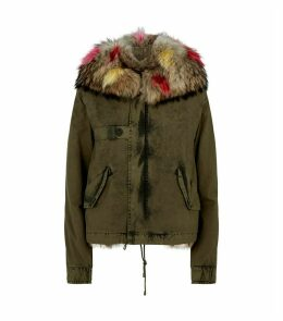 Fox Fur-Lined Cropped Parka Coat