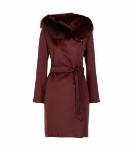 Fur-Trim Wool Coat