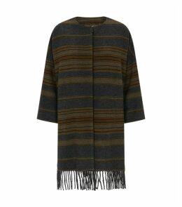 Striped Poncho Coat