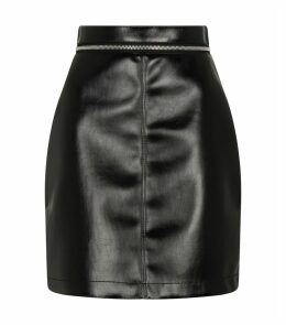 Zip-Detail Leather Skirt
