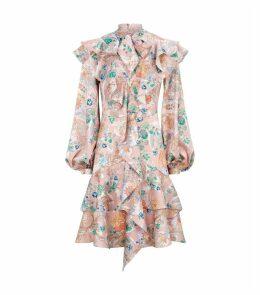 Silk Pussybow Ruffled Dress