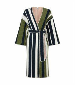 Knitted Wool Stripe Tie Coat