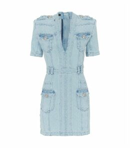 Distressed V-Neck Denim Dress