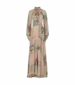 Floral Tie-Neck Gown