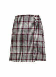 Womens Multi Colour Check Print Wrap Mini Skirt- Fl Multi, Fl Multi