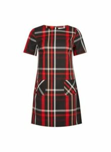 Womens Petite Red Check Print Shift Dress- Red, Red