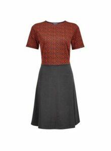Womens Rust Jacquard Print 2-In-1 Dress- Multi Colour, Multi Colour