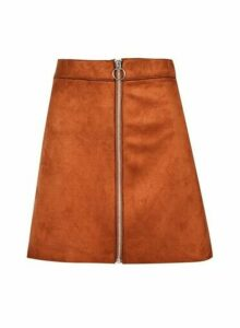 Womens **Only Rust Faux Suede Skirt- Red, Red