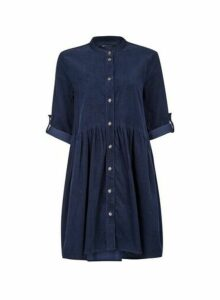 Womens **Only Navy Cord Shirt Dress- Blue, Blue