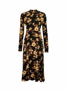 Womens Black Floral Print Shirred Midi Dress, Black