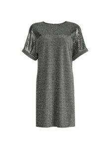 Womens Silver Lurex Sequin Shift Dress, Silver