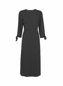 Womens Black Spot Print Tie Sleeve Midi Dress, Black