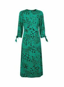 Womens Green Leopard Print Tie Sleeve Midi Dress- Green, Green