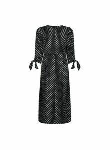 Womens Petite Monochrome Spot Print Midi Shift Dress- Black, Black