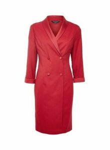 Womens Crimson Wrap Tuxedo Style Dress- Red, Red