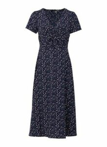 Womens *Izabel London Navy Ditsy Print Knot Front Midi Dress, Navy
