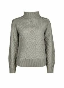 Womens Petite Grey Cable Jumper- Grey, Grey