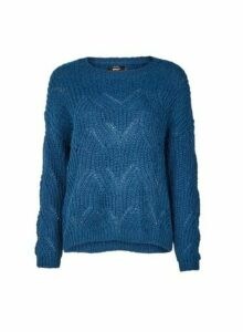 Womens **Only Blue Knitted Jumper- Blue, Blue