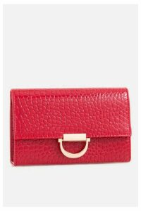 Womens **Red Faux Crocodile Clutch Bag By Koko Couture - Red, Red