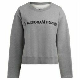Mm6 Maison Margiela  gray melange sweatshirt with front logo  women's Sweatshirt in Grey