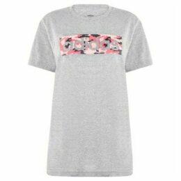 adidas  Camo Logo T Shirt Ladies  women's T shirt in Grey