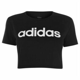 adidas  D2M Cropped T Shirt Ladies  women's T shirt in Black