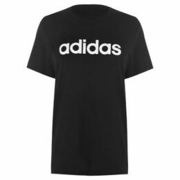 adidas  Linear Boyfriend QT T Shirt Ladies  women's T shirt in Black