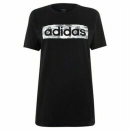 adidas  Camo Logo T Shirt Ladies  women's T shirt in Black