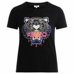 Kenzo  T shirt Tigre realizzata in cotone nero con logo multicolor  women's T shirt in Black
