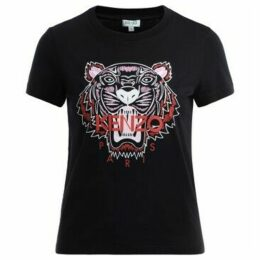 Kenzo  Tigre T shirt in black cotton with colored front logo  women's T shirt in Black