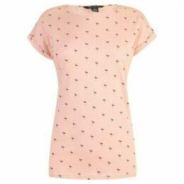 Miso  Printed Boyfriend T Shirt Ladies  women's Tunic dress in Pink
