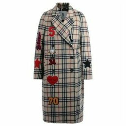 5 Progress  double-breasted coat in check print with appliqué  women's Coat in Beige