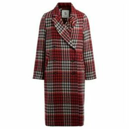 5 Progress  double-breasted coat in check print with fringe  women's Coat in Blue