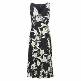 Lauren Ralph Lauren  FLORAL SURPLICE MIDI DRESS  women's Long Dress in Black