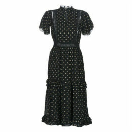 Maison Scotch  PARTY DRESS WITH RUFFLES AND LACE PANELS  women's Long Dress in Black