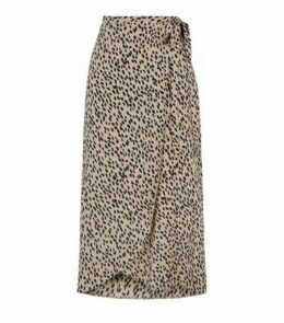 Camel Spot Wrap Midi Skirt New Look